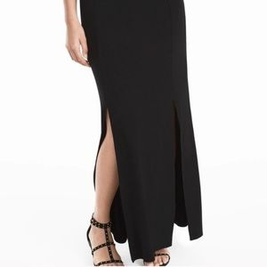 WHBM two slit black body shaping maxi skirt